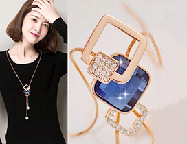 Fashion Sapphire Blue+rose Gold Bead Pendant Decorated Geometric Shape Design Necklace