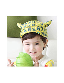 Cute Yellow Cat Pattern Decorated Ear Shape Design Cotton Children's Hats