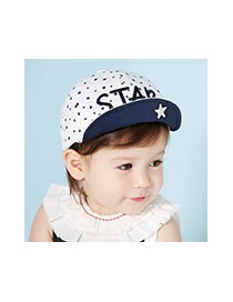 Cute White Start Pattern Decorated Letter Embroidery Design Cotton Children's Hats