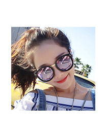 Fashion Pink Round Shape Decorated Simple Design Alloy Women Sunglasses