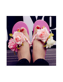 Trendy Plum Red Flower&pearl Decrated Simple Wedge Beach Shoes