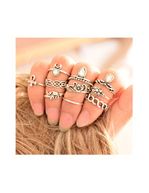 Retro Silver Color Gemstone Decorated Waving Jewerly Sets (10pcs)