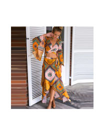 Bohemia Yellow Geometric Pattern Decorated Long Sleeve Loose Suits