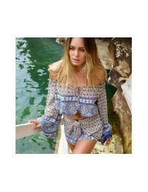 Fashion Coffee Geometric Shape Pattern Decorated Off-the-shoulder Long Sleeve Suits