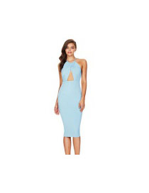 Sexy Light Blue Sleeveless Decorated Hang Neck Design Tight Dress
