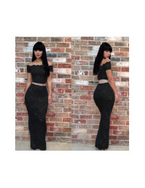 Sexy Black Hollow Out Lace Perspective Decorated Tight Suits