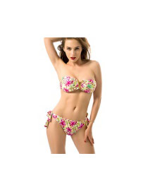 Sexy Multi-color Metal V Shape Decorated Flower Pattern Bikini