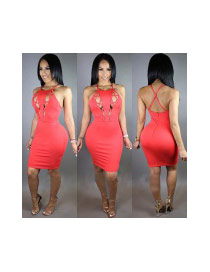 Sexy Red Bandage Sleeveless Decorated Pure Color Hollow out Tight Dress