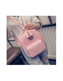 Cute Pink Rabbit Shape Decorated Pure Color Backpack