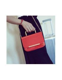 Elegant Plum Red Metal Handle Decorated Pure Color Design Shoulder Bag