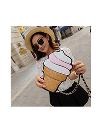 Cute Pink Color Matching Decorated Ice Cream Shape Shoulder Bag