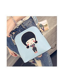 Sweet Blue Cartoon Girl Pattern Decorated Simple Shoulder Bag