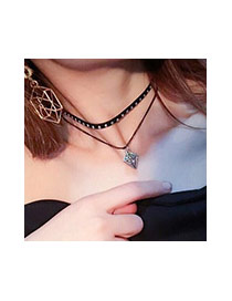 Vintage Black+gold Color Hollow Out Pendant Decorated Double Layer Short Chain Necklace