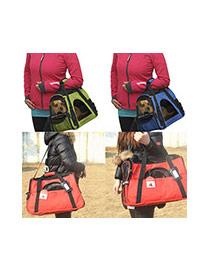 Fashion Black Pure Color Decorated Simple Pet Carrier