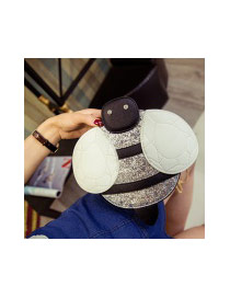 Cute Gray Color Matching Decorated Bee Shape Shoulder Bag