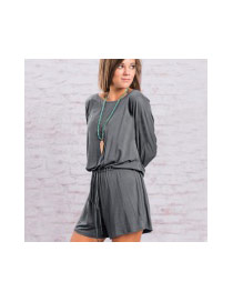 Casual Gray Pure Color Decorated Long Sleeve Jumpsuit