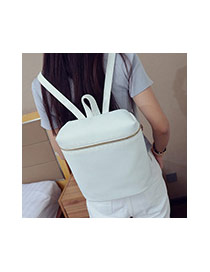 Fashion White Metal Chain Decorated Pure Color Simple Backpack