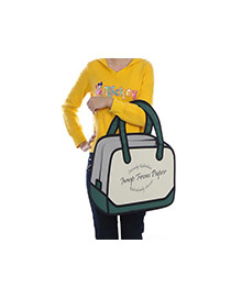 Cute Dark Green Cartoon 3d Letter Pattern Decorated Simple Handbag