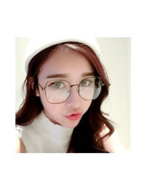 Fashion Gray Square Shape Frame Decorated Simple Glasses