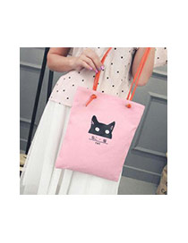 Lovely White Cat Pattern Decorated Pure Color Simple Canvas Bag