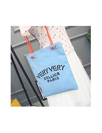 Fashion White Letter Very Pattern Decorated Pure Color Canvas Bag