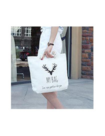 Lovely Black Deer Head Pattern Decorated Square Shape Canvas Bag