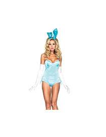 Lovely Blue Pure Color Design Strapless Jumpsuit (hair Pin+gloves)