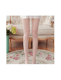Lovely White Round Shape Pattern Decorated Simple Silk Stockings