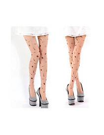 Personality Fleshcolor Cartoon Pattern Decorated Simple Silk Stockings