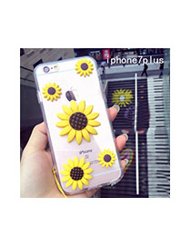 Cute Yellow+brown Sunflower Shape Decorated Transparent Iphone7plus Case