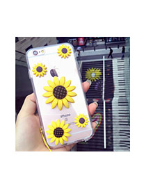 Cute Yellow+brown Sunflower Shape Decorated Transparent Iphone7 Case