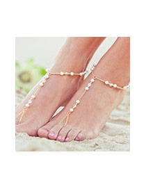Vintage Silver Color Pearl Decorated Simple Design Alloy Fashion Anklets