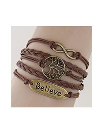 Vintage Coffee Hollow Out Tree Shape&letter Believe Decorated Multilayer Bracelet