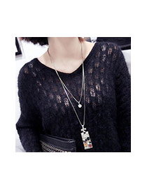 Fashion Multi-color Square Shape Decorated Simple Long Chain Necklace