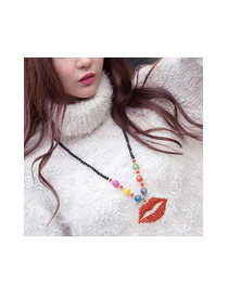 Fashion Multi-color Lip Shape Pandent Decorated Simple Sweater Necklace