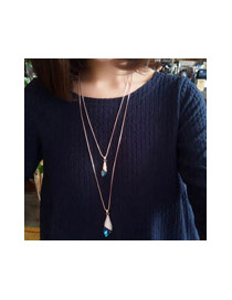 Elegant Blue Oval Shape Pandent Decorated Simple Sweater Necklace