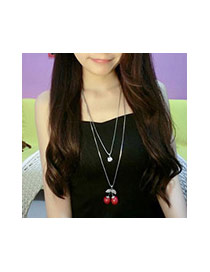 Fashion Red Cherry Pendant Decorated Simple Double Layer Necklace