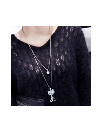 Sweet Silver Color Cartoon Cat Shape Pendant Decorated Simple Necklace