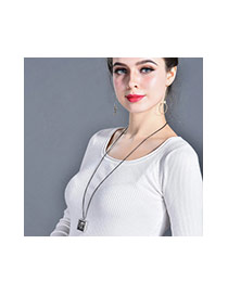 Fashion Rose Gold+white Heart Shape Pendant Decorated Square Shape Design Necklace