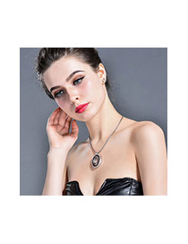 Fashion Rose Gold+white Leaf&oval Shape Pendant Decorated Simple Necklace