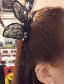 Fashion Black Rabbit Ear Decorated Simple Pure Color Hairpin
