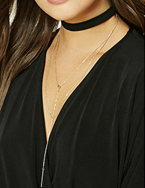 Fashion Black+gold Color Chain Pendant Decorated Mutli-layer Color Matching Necklace