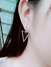 Fashion Rose Gold +black Triangle Shape Decorated Simple Hollow Out Earrings