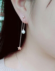 Fashion Rose Gold +black Star Shape Pendant Decorated Simple Long Chian Earrings