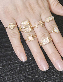 Fashion Gold Color Anchor Shape Design Ring Sets(7pcs)