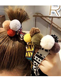 Fashion Black And White Stuffed Ball Hitting Color Geometric Wide Hair Rope