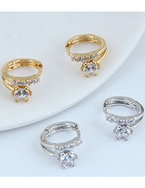 Fashion Gold Color Micro-inlaid Zircon Round Alloy Earrings
