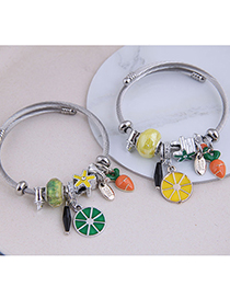 Fashion Green Fruit Drop Oil Diamond Geometric Bracelet
