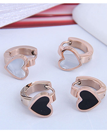 Fashion Black Love Titanium Steel Geometric Stud Earrings