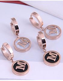 Fashion Black Titanium Steel Round Letter Earrings